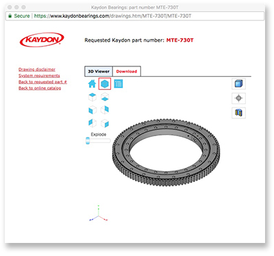 2D & 3D model downloads window - slewing ring bearings