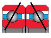 type B bearing - angular contact pair, duplexed back to back