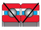 type F bearing - angular contact pair, duplexed face to face