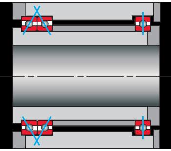 Kaydon Bearings - Cuscinetti accoppiati dorso-a-dorso combinati con un cuscinetto radiale