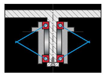 Kaydon Bearings - Struttura 'king post' con due cuscinetti a sfere 6010 convenzionali con foro da circa 2 inch