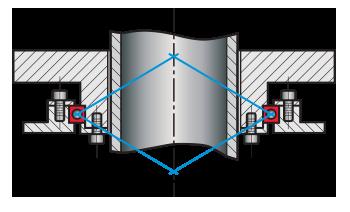 Kaydon Bearings - Un cuscinetto singolo a sezione sottile a quattro punti di contatto con foro da 7 inch KB070XP0 può sostituire due cuscinetti 6010